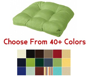 "Tufted Rounded Back Chair Cushion 21"" x 21"", CHOOSE YOUR COLOR"