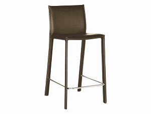 Brown Leather Bar Stool Restaurant Furniture