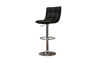 Aleena Black Faux Leather Modern Bar Stool