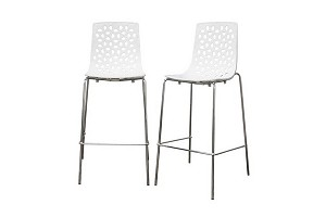 Spring White Plastic Modern Bar Stool Restaurant Furniture