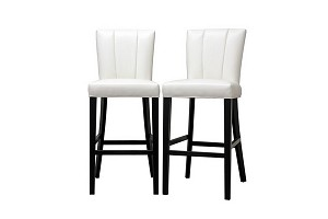 Janvier Off-White Leather Modern Bar Stool Restaurant Furniture