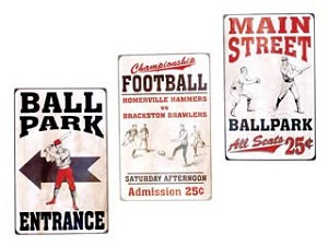PLAY BALL TIN SIGNS set of three