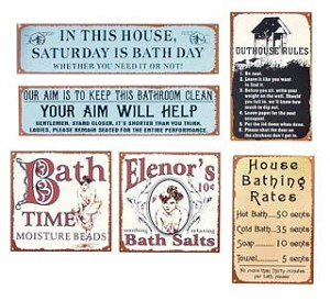 Bath and Bathroom Signs set of five