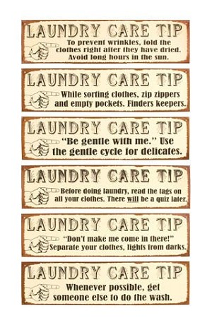 Laundry Care Tip Old Time Signs set of six