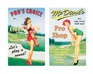 Pin Up GOLF ADVERTISING SIGNS set of two