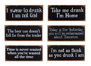 Drunk and Wasted Old Time Signs set of six