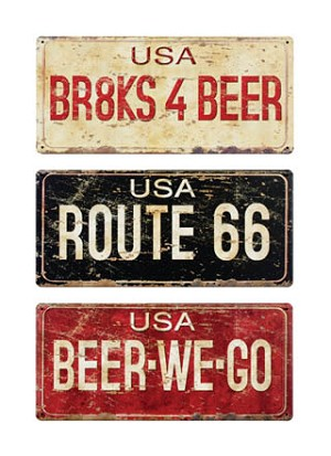 License Plates Signs set of three