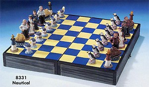 Nautical Chess Set, Board Folds To Store Chess Pieces