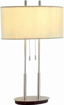 Duet Table Lamp with Satin Steel Finish