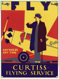 Curtiss Flying Service Metal Sign