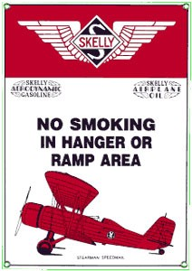 Skelly Aviation Gas No smoking in hanger or ramp area metal sign