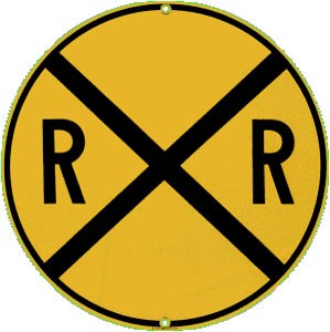 Railroad Crossing Embossed Tin Sign