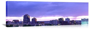 Albuquerque, New Mexico Skyline at Dusk Panorama Picture