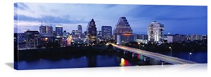 Austin, Texas Skyline at Dusk Panorama Picture