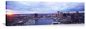 Baltimore, Maryland  Sunset Skyline Panorama Picture