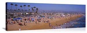 Newport Beach, California Tourists on the Beach Panorama Picture