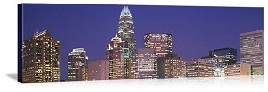 Charlotte, North Carolina Night Skyline Panorama Picture