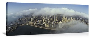 Chicago, Illinois Skyline Clouds Panorama Picture
