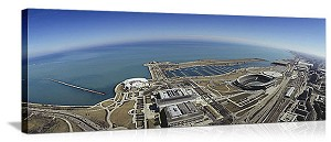 Chicago, Illinois Lakefront Attractions Aerial Panorama Picture