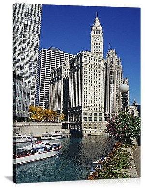Chicago, Illinois Tribune Tower Skyline Panorama Picture