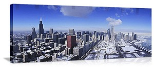 Chicago, Illinois Winter Skyline Panorama Picture