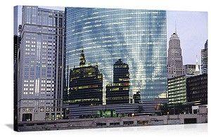 Chicago, Illinois Downtown Reflections Panorama Picture