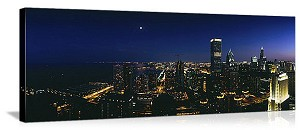 Chicago, Illinois Night Sky Reflection Panorama Picture