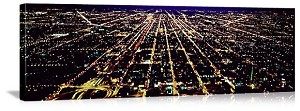 Chicago, Illinois Aerial Streetscape At Night Panorama Picture