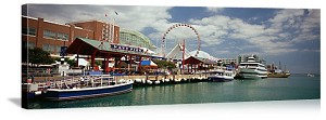 Chicago, Illinois Boats at Navy Pier Panorama Picture
