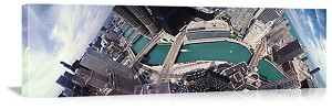 Chicago, Illinois Chicago River Aerial View Panorama Picture