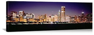 Chicago, Illinois Night Skyline from Lake Michigan Panorama Picture