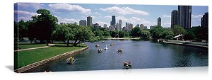 Chicago, Illinois Lincoln Park Paddle Boats Panorama Picture
