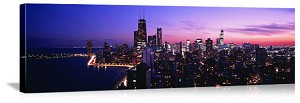 Chicago, Illinois Nighttime Skyline Panorama Picture