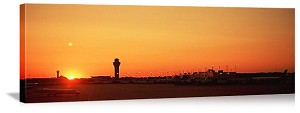 Chicago, Illinois O'Hare International Airport Sunset Panorama Picture