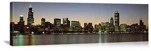 Chicago, Illinois Skyline at Dusk Panorama Picture