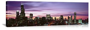 Chicago, Illinois Downtown Skyline at Dusk Panorama Picture