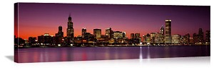 Chicago, Illinois Sunset Skyline Panorama Picture