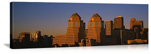 Cincinnati, Ohio Sunlit Downtown Skyline Panorama Picture
