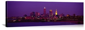 Cleveland, Ohio Night Skyline Panorama Picture