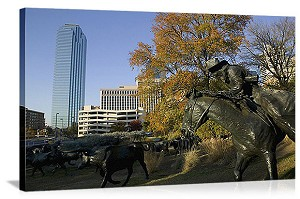 Dallas, Texas Cattle Drive Sculpture, Pioneer Plaza Panorama Picture