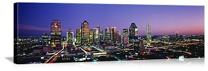 Dallas, Texas Skyline at Night Panorama Picture