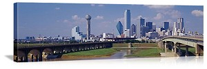 Dallas, Texas Downtown Bridges Panorama Picture