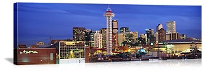 Denver, Colorado Skyline at Dusk Panorama Picture