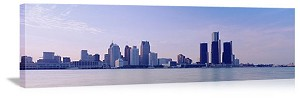 Detroit, Michigan Waterfront Downtown Panorama Picture