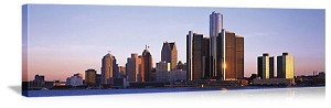 Detroit, Michigan Detroit River Skyline Panorama Picture