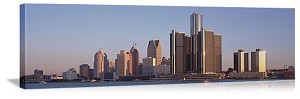 Detroit, Michigan Downtown Skyline Panorama Picture
