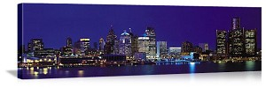 Detroit, Michigan Night Skyline Panorama Picture