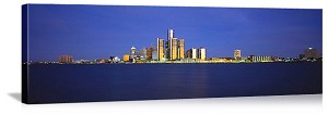 Detroit, Michigan Detroit Riverfront Skyline Panorama Picture