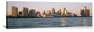 Detroit, Michigan Skyline on Detroit River Panorama Picture