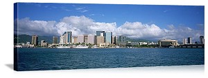 Honolulu, Hawaii Downtown Honolulu Skyline Panorama Picture